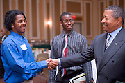 19004Legacy 2008 Recognition & Awards Ceremony in Baker Center 7/31/08: Templeton Scholars, Urban Scholars, and Appalachian Scholars..Dr. McDavis &..Christopher Flowers(blue) and Jermain Onye