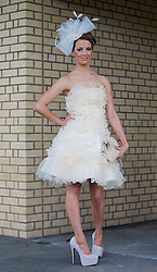 LIVERPOOL, ENGLAND - Friday, April 4, 2014: Joni Talbot of Skelmersdale wearing LBD Collection during Ladies' Day on Day Two of the Aintree Grand National Festival at Aintree Racecourse. (Pic by David Rawcliffe/Propaganda)