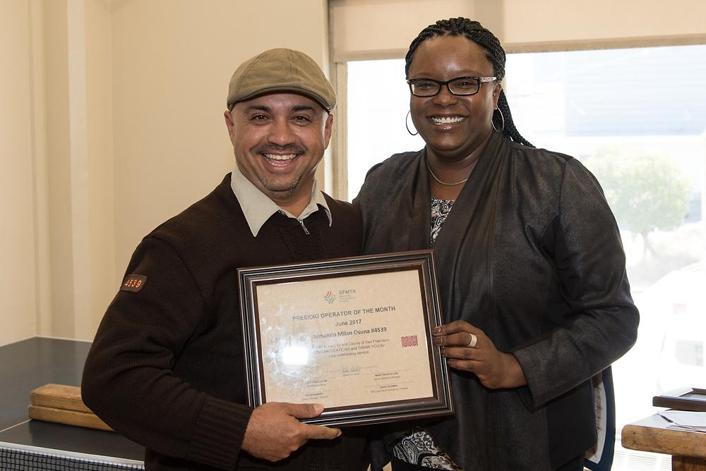 June Operator of the Month Armando Milan-Osuna Receiving Award at Presidio Division   July 12, 2017