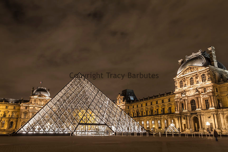 Exterior - The Louvre Museum (Musée du Louvre) at night, Paris, France