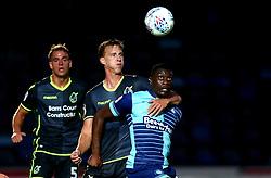 Joe Partington of Bristol Rovers challenges Josh Umerah of Wycombe Wanderers - Mandatory by-line: Robbie Stephenson/JMP - 29/08/2017 - FOOTBALL - Adam's Park - High Wycombe, England - Wycombe Wanderers v Bristol Rovers - Checkatrade Trophy