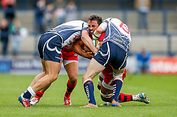 Bristol Flanker Marco Mama is tackled by Yorkshire Carnegie Winger Lewis Jones and Outside Centre Jon Clarke - Photo mandatory by-line: Rogan Thomson/JMP - 07966 386802 - 14/09/2014 - SPORT - RUGBY UNION - Leeds, England - Headingley Carnegie Stadium - Yorkshire Carnegie v Bristol Rugby - Greene King IPA Championship.