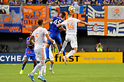 Emmanuel Ledesma (45) of FC Cincinnati and Justin Meram (14) of Atlanta United FC compete to head the ball during a MLS soccer game, Wednesday, September 18, 2019, in Cincinnati, OH. Atlanta defeated Cincinnati 2-0. (Jason Whitman/Image of Sport)