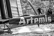 Artemis Racing Red boat in B&W