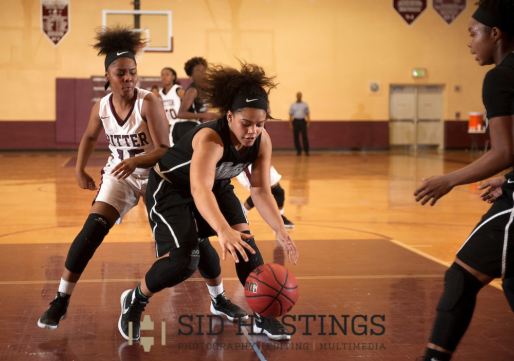 18 JAN. 2016 -- ST. LOUIS -- Cardinal Ritter College Prep girls' basketball players Ryann Haynes (15) looses control of the ball to McCluer North High School's Alyzabeth Jones (25) during the game between the schools, part of the 2016 MLK Basketball Classic at Cardinal Ritter in St. Louis Monday, Jan. 18, 2016. McCluer North won, 51-50. Photo © copyright 2016 Sid Hastings.