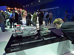 Demonstration of Hybrid electric motor by Mercedes at Frankfurt Motor Show or IAA 2011 Germany