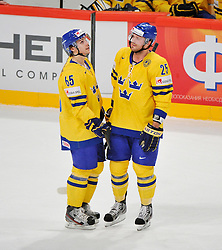 11.05.2012, Ericsson Globe, Stockholm, SWE, IIHF, Eishockey WM, Russland (RUS) vs Schweden (SWE), im Bild, Sverige Sweden 65 Erik Karlsson Sverige Sweden 25 Viktor Stalberg Stålberg // during the IIHF Icehockey World Championship Game between Russia (RUS) and Sweden (SWE) at the Ericsson Globe, Stockholm, Sweden on 2012/05/11. EXPA Pictures © 2012, PhotoCredit: EXPA/ PicAgency Skycam/ Simone Syversson..***** ATTENTION - OUT OF SWE *****