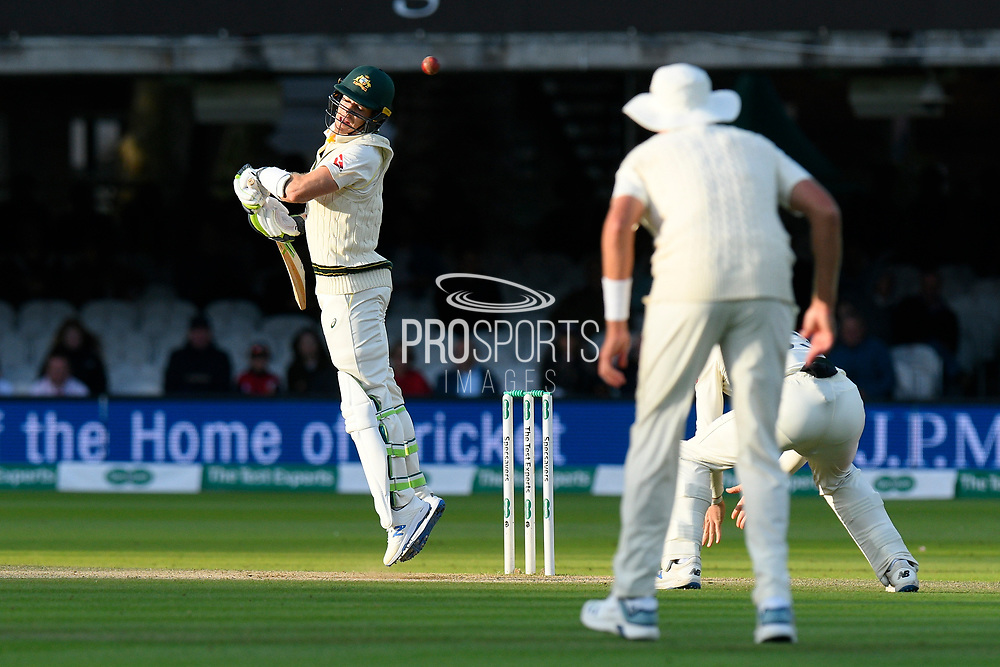 Tim Paine of Australia has to avoid a bouncer from Jofra Archer of England during the International Test Match 2019 match between England and Australia at Lord's Cricket Ground, St John's Wood, United Kingdom on 18 August 2019.