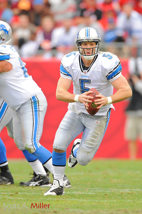 Detroit Lions quarterback Drew Stanton (5) during the Lions 23-20 win over the Tampa Bay Buccaneers at Raymond James Stadium on Dec. 19, 2010 in Tampa, Florida...©2010 Scott A. Miller