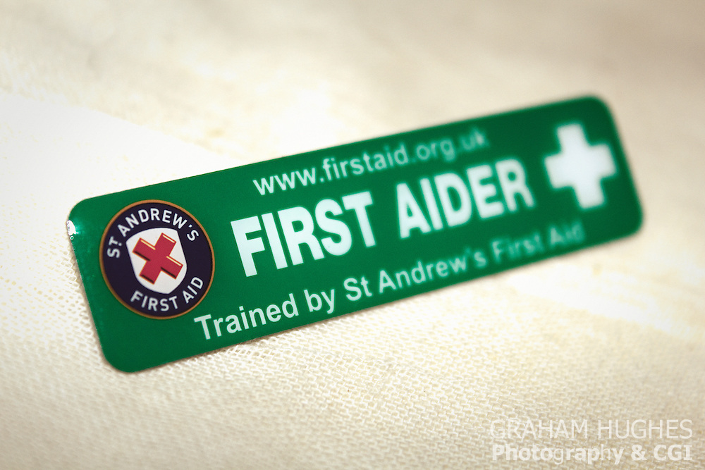 St Andrews First Aider badge. For editorial use only.