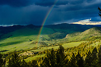 Rainbow over Yellowstone River watershed; Yellowstone National Park, Wyoming