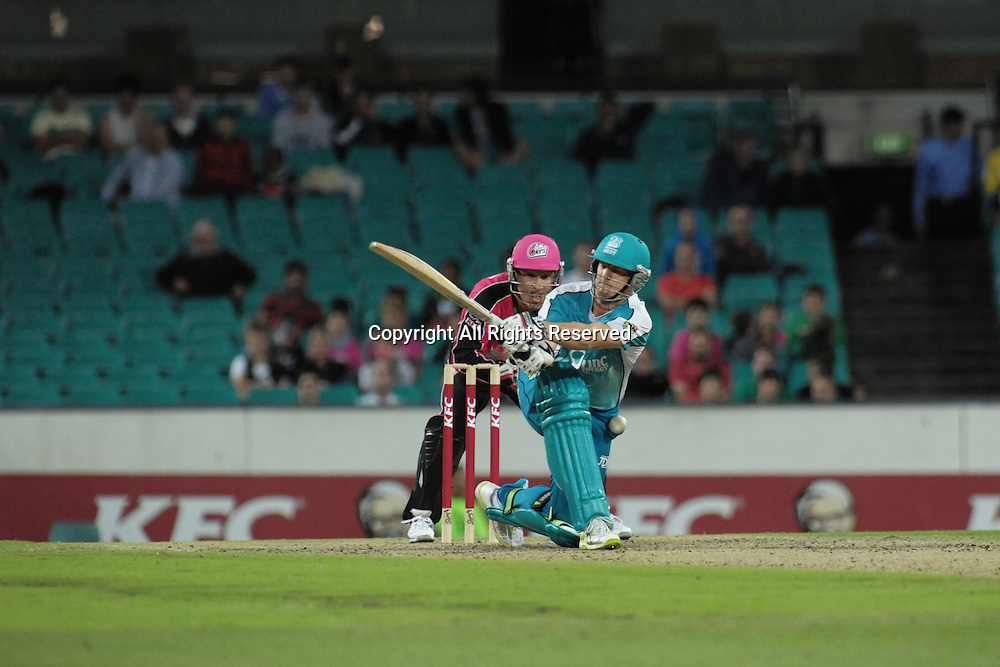 16.12.2011 Sydney, Australia.Brisbanes Andrew Robinson is bowled lbw during the KFC T20 Big Bash League game between Sydney Sixers and Brisbane Heat at the Sydney Cricket Ground.