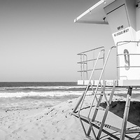 Huntington Beach lifeguard tower panorama photo. Panoramic picture ratio is 1:3. Huntington Beach is a seaside beach city in Orange County Southern California and is also known as Surf City USA. Image Copyright © 2012 Paul Velgos with All Rights Reserved.