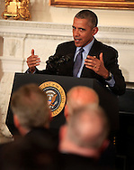 President Barack Obama delivers remarks and takes questions from the National Governors Association in the State Dining Room of the White Houseon February 22,2016.    Dennis Brack