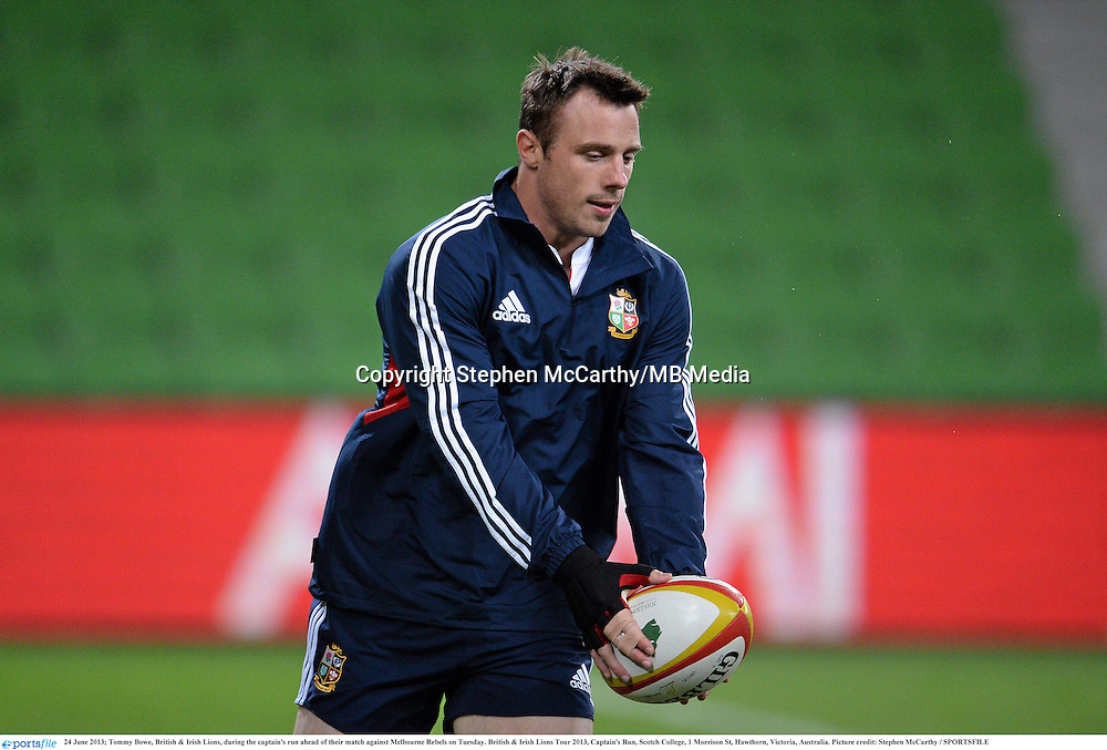 24 June 2013; Tommy Bowe, British & Irish Lions, during the captain's run ahead of their match against Melbourne Rebels on Tuesday. British & Irish Lions Tour 2013, Captain's Run, Scotch College, 1 Morrison St, Hawthorn, Victoria, Australia. Picture credit: Stephen McCarthy / SPORTSFILE