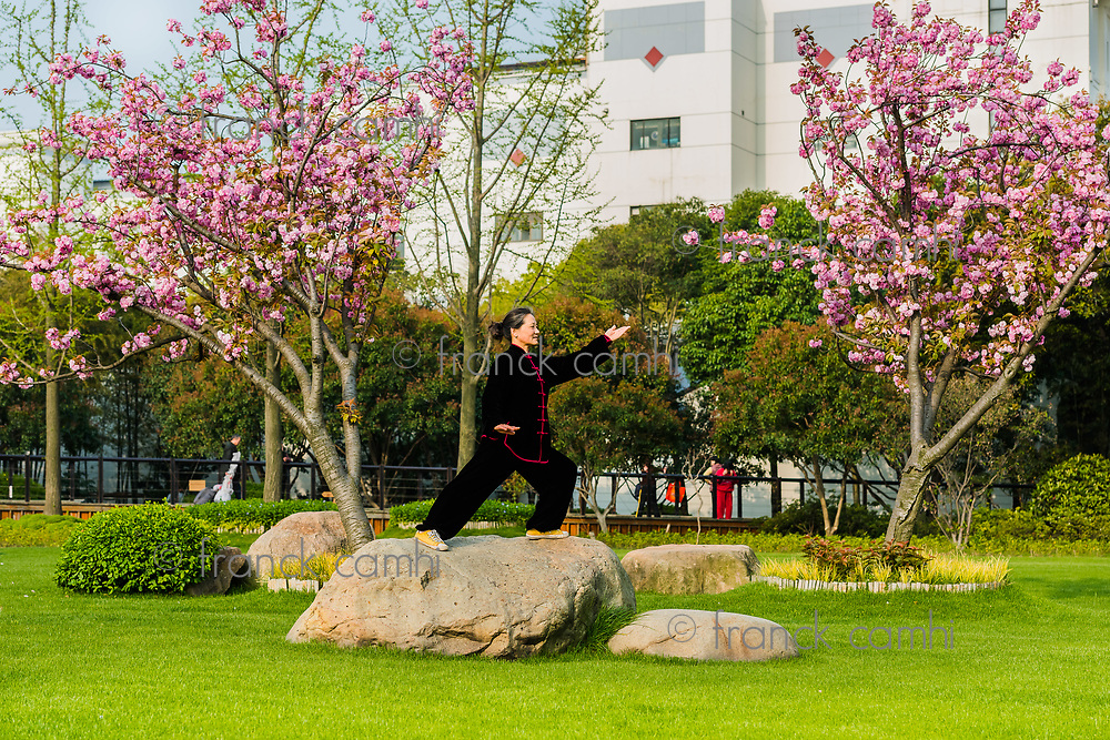 Shanghai, China - April 9, 2013: one old woman exercising tai chi with traditional costume in gucheng park in the city of Shanghai in China on april 9th, 2013