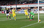 21st April 2018, Dens Park, Dundee, Scotland; Scottish Premier League football, Dundee versus St Johnstone; Sofien Moussa of Dundee scores for 1-0