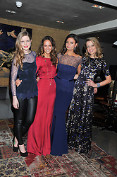 Left to right, KATIE READMAN, LAVINIA BRENNAN, LADY NATASHA RUFUS-ISAACS and FEDERICA AMATI at the Beulah AW13 Showcase, Bungalow 8 LFW Pop-Up at Belgraves - A Thompson Hotel, 20 Chesham Place, London SW1 on 13th February 2013.