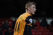 Goalscorer Sam Clucas looks back into the action during the Sky Bet Championship match between Brentford and Hull City at Griffin Park, London, England on 3 November 2015. Photo by Michael Hulf.