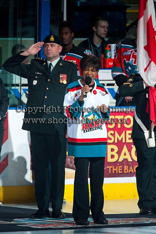 KELOWNA, CANADA - NOVEMBER 11: TeenaRee Gowdy sings the national anthem on November 11, 2015 at Prospera Place in Kelowna, British Columbia, Canada.  (Photo by Marissa Baecker/ShoottheBreeze)  *** Local Caption *** TeenaRee Gowdy;