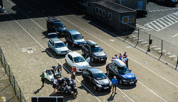 Cars waiting to board the P & O ferry mv Pride of Bruges on the quayside at Zeebrugge, Belgium.<br /> <br /> (c) Andrew Wilson | Edinburgh Elite media