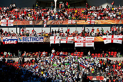 Fans of Slovenia and England during the 2010 FIFA World Cup South Africa Group C Third Round match between Slovenia and England on June 23, 2010 at Nelson Mandela Bay Stadium, Port Elizabeth, South Africa.  (Photo by Vid Ponikvar / Sportida)