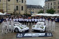 Patrick PILET (FRA) / Kevin ESTRE (FRA) / Nick TANDY (GBR)  #91 and Frederic MAKOWIECKI (FRA) / Earl BAMBER (NZL) / Jorg BERGMEISTER (DEU)  #92 PORSCHE MOTORSPORT PORSCHE 911 RSR (2016),   team photo at scrutinering,   during the Le Mans 24 Hr June 2016 at Circuit de la Sarthe, Le Mans, Pays de la Loire, France. June 12 2016. World Copyright Peter Taylor/PSP.