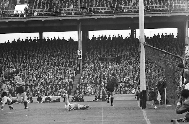 Kerry player falls in front of the goal during the All Ireland Senior Gaelic Football Final Kerry v Down in Croke Park on the 22nd September 1968. Down 2-12 Kerry 1-13.
