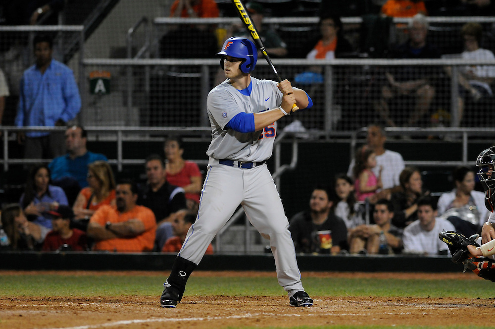 March 2, 2012: Preston Tucker #25 of Florida in action during the game between the Miami Hurricanes and Florida Gators at Alex Rodriguez Park in Coral Gables, FL. The Gators defeated the Hurricanes 7-5.