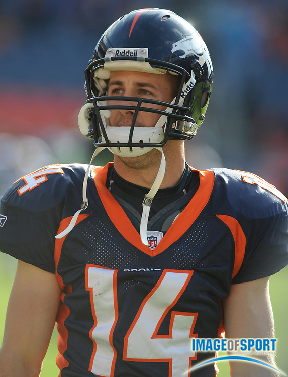Nov 23, 2008; Denver, CO, USA; Denver Broncos receiver Brandon Stokley (14) during the game against the Oakland Raiders at Invesco Field. The Raiders defeated the Broncos 31-10.