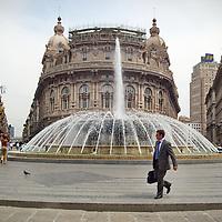 Genoa, Italy - 27 May 2013: Fountain in Piazza De Ferrari main square in Genoa Italy
