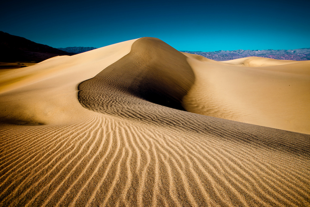 Dramatic ridges in the sand dunes in Death Valley National Park, CA