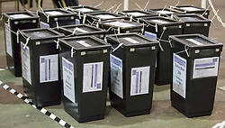 Scottish Parliament Election 2016 Royal Highland Centre Ingliston Edinburgh 05 May 2016; sealed ballot boxes waiting to be opened during the Scottish Parliament Election 2016, Royal Highland Centre, Ingliston Edinburgh.<br /> <br /> (c) Chris McCluskie | Edinburgh Elite media