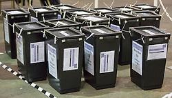 Scottish Parliament Election 2016 Royal Highland Centre Ingliston Edinburgh 05 May 2016; sealed ballot boxes waiting to be opened during the Scottish Parliament Election 2016, Royal Highland Centre, Ingliston Edinburgh.<br /> <br /> (c) Chris McCluskie | Edinburgh Elite media
