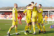 Fleetwood Town defender Harry Souttar (12)  scores the opening goal during the EFL Sky Bet League 1 match between Accrington Stanley and Fleetwood Town at the Fraser Eagle Stadium, Accrington, England on 30 March 2019.