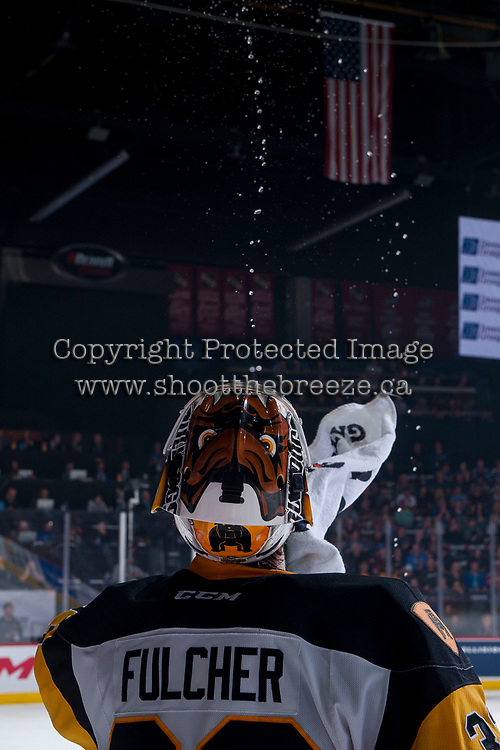 REGINA, SK - MAY 25: Kaden Fulcher #33 of Hamilton Bulldogs squirts water at the bench against the Regina Pats at the Brandt Centre on May 25, 2018 in Regina, Canada. (Photo by Marissa Baecker/CHL Images)