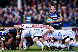 Chris Cook of Bath Rugby looks to put the ball into a scrum - Mandatory byline: Patrick Khachfe/JMP - 07966 386802 - 17/10/2015 - RUGBY UNION - The Recreation Ground - Bath, England - Bath Rugby v Exeter Chiefs - Aviva Premiership.