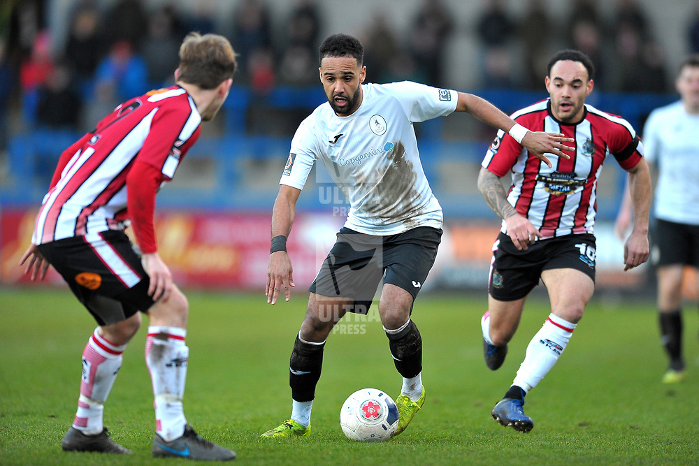 TELFORD COPYRIGHT MIKE SHERIDAN Brendon Daniels of Telford during the Vanarama Conference North fixture between AFC Telford United and Altrincham at The New Bucks Head on Saturday, February 1, 2020.<br /> <br /> Picture credit: Mike Sheridan/Ultrapress<br /> <br /> MS201920-044