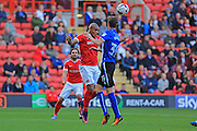 Josh Magennis header during the EFL Sky Bet League 1 match between Charlton Athletic and Rochdale at The Valley, London, England on 1 October 2016. Photo by Daniel Youngs.