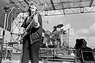 Ana da Silva, vocals and guitar, Ingrid Weiss, drums.. The Raincoats, Alexandra Palace, London 15-06-1980