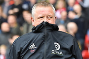 Sheffield United manager Chris Wilder  during the EFL Sky Bet Championship match between Sheffield United and Millwall at Bramall Lane, Sheffield, England on 14 April 2018. Picture by Ian Lyall.