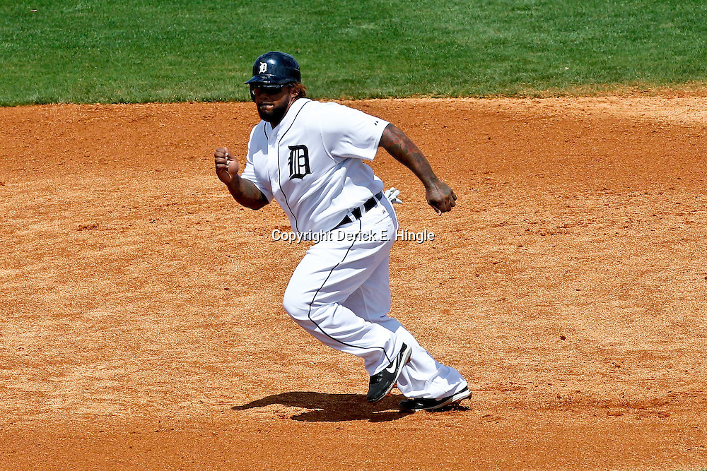 March 14, 2012; Lakeland, FL, USA; Detroit Tigers first baseman Prince Fielder (28) advances to the third base during a spring training game against the New York Mets at Joker Marchant Stadium. Mandatory Credit: Derick E. Hingle-US PRESSWIRE