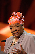 Author and poet Maya Angelou speaking at the 2006 PromaxBDA conference in New York City.<br />
