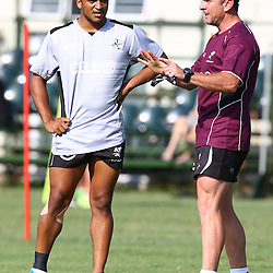 DURBAN, SOUTH AFRICA, November 26 2015 - Rhyno Smith with Johan Pretorius Head Strength & Conditioning Coach during The Cell C Sharks Pre Season training for the 2016 Super Rugby Season at Growthpoint Kings Park in Durban, South Africa. (Photo by Steve Haag)<br /> images for social media must have consent from Steve Haag