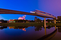 Monorail with Geosphere at Epcot Center, Walt Disney World, Orlando, Florida USA