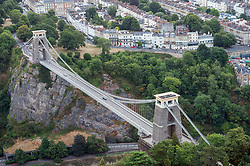 © Licensed to London News Pictures.  01/08/2018; Bristol, UK. The Clifton Suspension Bridge, designed by Isambard Kingdom Brunel, as seen from a hot air balloon during a press preview event for the Bristol International Balloon Fiesta 2018 which will take place from 09 - 12 August. Balloons are inflated in the early morning light at Bristol's Ashton Court Estate, on the site of the first ever fiesta 40 years ago, and fly over the Clifton Suspension Bridge. Photo credit: Simon Chapman/LNP