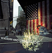 """Attending to a floral memorial of Lillies in a 5th Avenue store front in mid-town Manhattan. In the days following the September 11th attacks, a store window dresser is seen through the glass with Fifth Avenue reflected behind. The words """"In Memory and Gratitude"""" are written in block capitals on the window and a passer-by walks briskly past the large floral display and the large US flag that hangs vertically in mourning for those killed and those heroes helping to uncover their remains in the debris. America sought to express their anger and patriotic unity by installing these shrines in the frontages of businesses and in homes as New Yorkers try to pick up the pieces of their lives."""