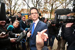 © Licensed to London News Pictures. 16/11/2018. London, UK. STEVE BAKER MP of the ERG speaking to media in Westminster following multiple resignations from Cabinet yesterday over a proposed Brexit deal with the EU. Photo credit: Ben Cawthra/LNP