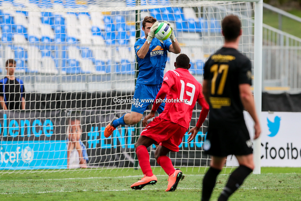 Team Wellington's Scott Basalaj saves from a free kick. OFC Champions League 2016 Group Stage, Team Wellington v Hekari United, QBE Stadium, Auckland, Saturday 16th April 2016. Photo: David Joseph / www.phototek.nz