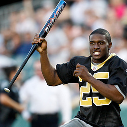 May 17, 2011; Metairie, LA, USA; New Orleans Saints running back Reggie Bush (25) during the Heath Evans Foundation charity softball showdown featuring the offense versus the defensive players at Zephyrs Field.  Mandatory Credit: Derick E. Hingle